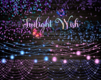 Twilight Wish Clipart - magical sparkling bokeh lights and leaf confetti clip art, magic butterflies, pink, blue and purple fantasy wedding