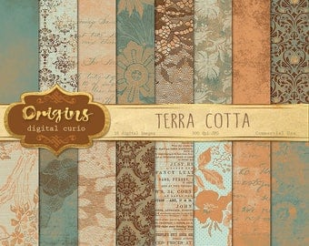 Terra Cotta Digital Paper, distressed turquoise textures, grungy backgrounds, vintage brick red stone scrapbook paper instant download