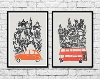 2 Art-Posters 30 x 40 cm - London and Paris