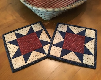 Kitchen Pot Holders / Quilted Potholders / Country Decor / Handmade /Patriotic Decor / Americana/ Farmhouse Decor/  Item #2070