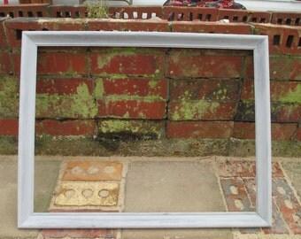 18 x 24 Whitewash Wood Frame -  Whitewash Picture Frame - Natural Wood Frame - 1970s Era