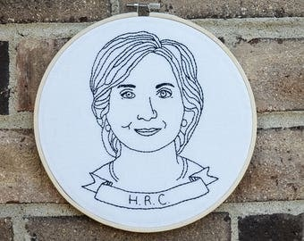 """Hillary Clinton """"HRC"""" Portrait Embroidery, Black and White"""