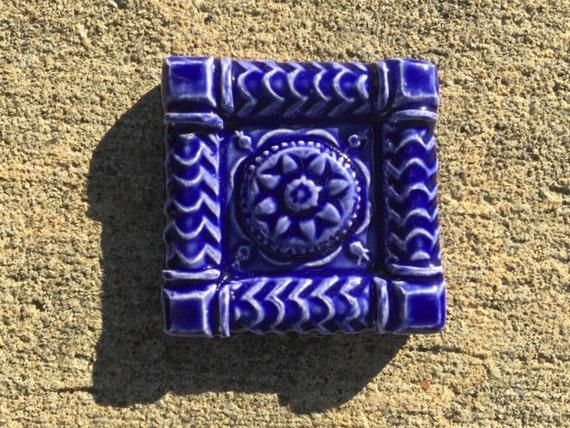 Ceramic Tile Magnet -- Buttermold Accent Tile Magnet in Royal Blue Glaze, refrigerator magnet,