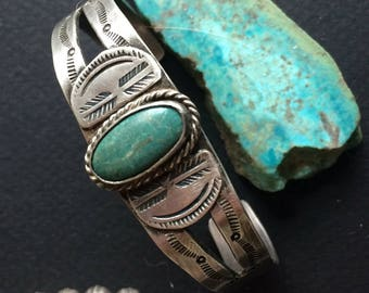 Sweet and Simple Harvey Era Vintage Silver and Turquoise bracelet