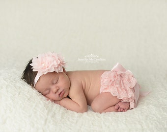 NEWBORN BLOOMER SET, Pink Ruffled Lace Diaper Cover,Lace Bloomer Set and Matching Headband,Newborn Photo Outfit, Many Colors Available,
