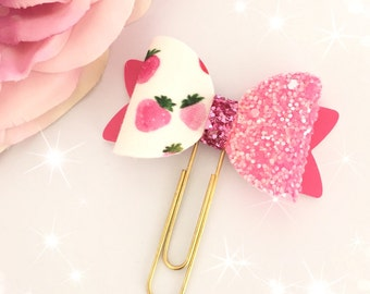 Strawberry Fabric Bow Paperclip...