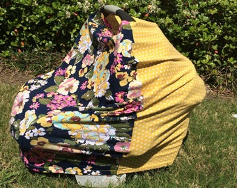 READY TO SHIP, Stretchy Car Seat Cover, Floral/Dots  Stretchy Car Seat Cover, Stretchy Nursing Cover, 4 in 1 Car Seat Cover