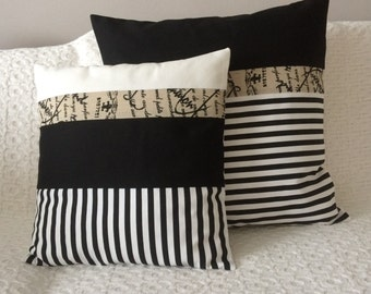 Cushion Covers Set Of Two Black White Striped Franch Writing Natural Cotton 50*50, 40*40 cm