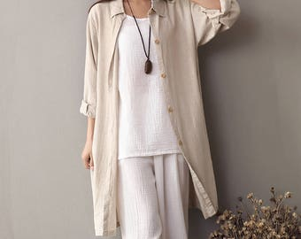 2017 new spring and summer cotton and linen Coat -  Women's leisure long section of pure color loose cotton and linen shirt style coat