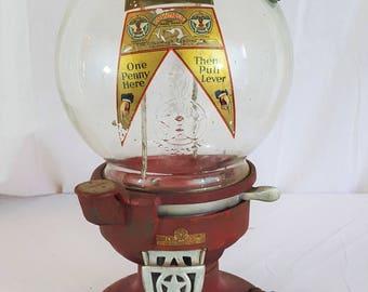 Antique Columbus Model A One Cent Peanut / Gum Machine with Antique Padlocks