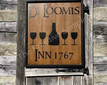 Colonial Tavern Sign, Reproduction Tavern, D.Loomis Sign, Early American Tavern, Framed Tavern Sign