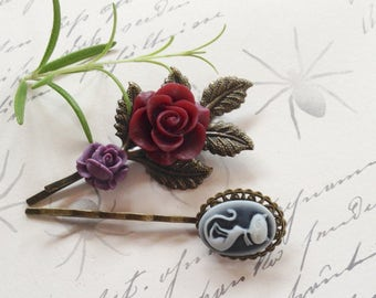 Cat And Rose Hair Clips