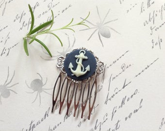 Comb Blue And Cream Decorative Anchor Hair Comb