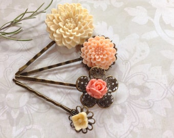 Vanilla And Orange Sorbet Floral Hair Clips