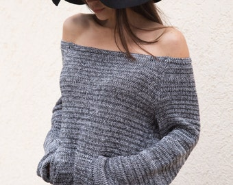 HANDMADE Gray Melange Asymmetrical Sweater/Knitwear Dress/Long Pullover/Loose Plus Size Sweater/ Off shoulder sweater/Knit Blouse/F1553