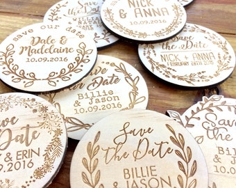 Save the date magnets. 10 pieces. Wooden magnets. Rustic. Wood etched - Vines Designs
