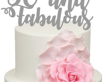 50 and Fabulous Birthday Age Acrylic Cake Topper