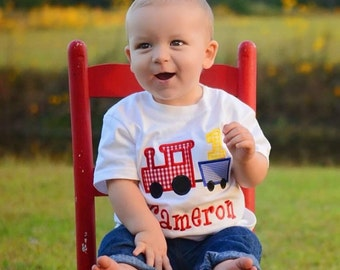 First Birthday train appliqu shirt with name monogrammed