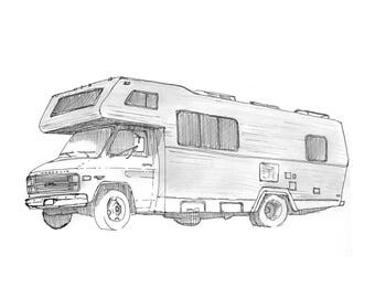 Ink sketch of an RV - Recreational Vehicle