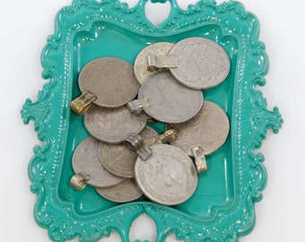 """10 Large 1"""" Kuchi Belly Dance Coins With Loops - Kuchi Coins - Belly Dance Coins - Tribal Coins - Costume Coins - Costume Supplies"""