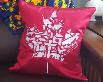 RED Embroidered Canadian Maple Leaf Pillow Cover Throw Pillow, Decorative Pillow