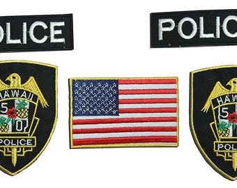Hawaii Police Department Fancy dress patch set , 5 Embroidered Iron On Badges
