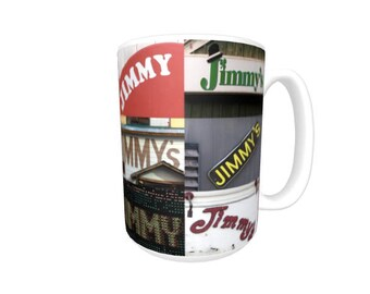 Personalized Coffee Mug featuring the name JIMMY in photos of signs; Ceramic mug; Unique gift; Coffee cup; Birthday gift; Coffee lover