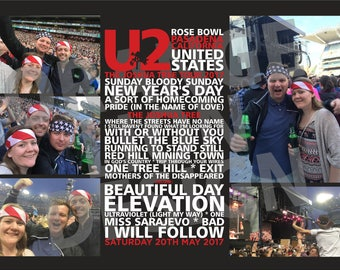 NEW Personalised Photo Canvas - U2, Joshua Tree Tour 2017,  Rose Bowl, Pasadena - 20th May 2017 - All Tour Dates Available
