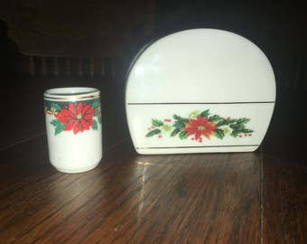 Vintage Royal  Norfolk Poinsettia and Holly Pattern Napkin And Matching Toothpick Holder