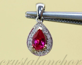 14k White gold Natural untreated Ruby & Diamond Pear shape Pendant charm .62ctw