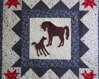 PONY , HORSE, BABY Quilt, Western, Cowboy or Cowgirl, Bright, Cheery, Boy or Girl Nursery