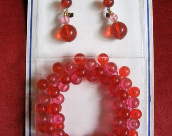 Vintage New Old Stock Go Go Bracelet & Earring Set in Original Packages Made in Hong Kong - Red/Pink