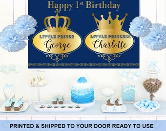 Royal Baby Shower Personalize Backdrop -Twin Baby Shower Cake Table Backdrop - First Birthday Backdrop