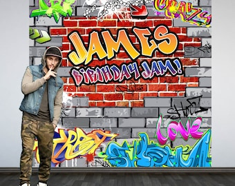 Graffiti Brick Party Personalized Photo Backdrop -90's Photo Backdrop- Hip Hop Birthday Photo Backdrop - Custom Backdrop