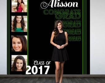 Congrats GRAD Personalized Photo Backdrop -Green Photo Strip Photo Backdrop- Class of 2017 Photo Backdrop - Graduation Photo Booth Backdrop