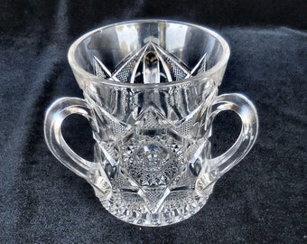 Antique Pressed Glass Three-Handled Loving Cup