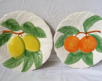 "Pair of Kitchenalia Wall Plates 'Oranges and Lemons' 8 1/4"" 20.5cms"