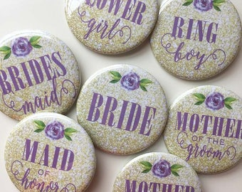 Gold Glitter and Lavendar Peony - Bridal Shower/Bachelorette Pins (pack of 7)