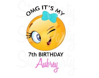 Personalized Emoji, Emoticon, Winky, Emoji Party, Emoji Birthday, T shirt Printable Iron On Transfer Sticker custom Birthday Shirt