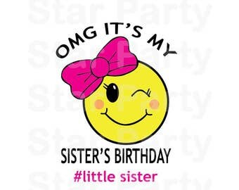 Instant Download, Emoji, Emoticon, Sister, Emoji Party, Emoji Birthday, T shirt Printable Iron On Transfer Sticker custom Birthday Shirt