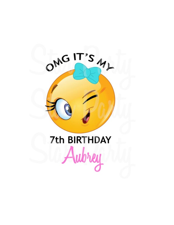Wink Emoji Personalized Birthday Shirt