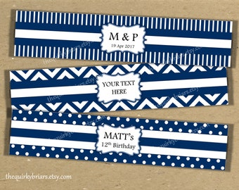 Navy Blue / White / Chevron / Polka Dots / Stripes Prints / Water Bottle Labels Printable PDF / Bridal Shower / Editable Instant Download