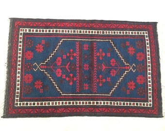 Vintage Turkish Wool Rug Red & Blue
