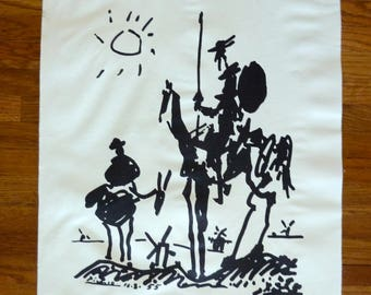 Don Quixote print by Pablo Picasso, vintage 50s artwork, black and white imagery