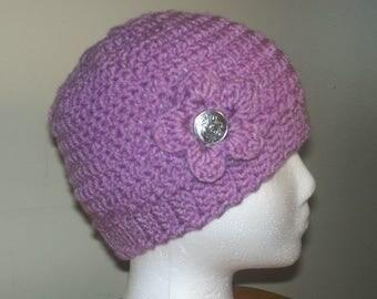 Crochet Hat Pattern- Ribbed Edge Flower-Winter Cap