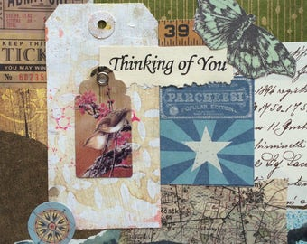 Greeting card 'thinking of you', inside left blank for your own special message