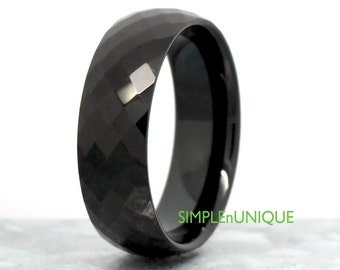 Black Ring, Diamond Cut Shape Tungsten Wedding Band, Mens 8mm Promise Tungsten Ring, Engravable Promise Ring, Tungsten Engagement Ring