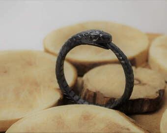 Dark Ouroboros sterling silver ring snake ring wedding ring