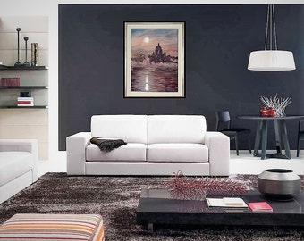 Oil Painting City Landscape Original Painting Calm Romantic handmade home office décor White nights  Oil Painting