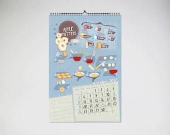 calendar 2017, wall calendar 2017, recipes calendar, USA CALENDAR, english calendar, illustrated calendar, kalender, calendrier, calendário